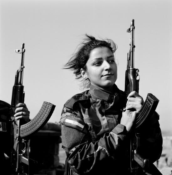 Portrait of Peshmerga, Nishtman, 24 years old, serving under Hussein Yazdanpana's  command in the Kurdistan Freedom Party (PAK), fighting Daech along the enemy line,  Northwest Kirkuk, Iraqi Kurdistan, November 2015.